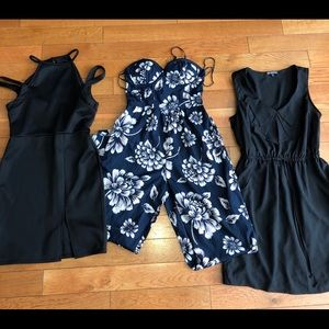 1 floral pant jumpsuit and two black dresses